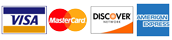 We accept American Express, Discover,Mastercard and Visa cards