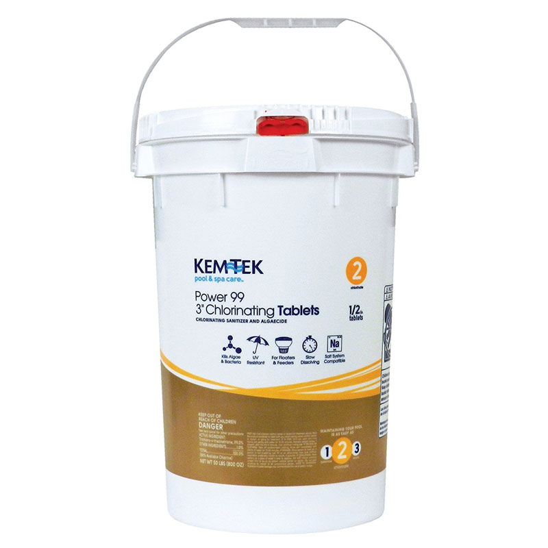 Kem-Tek Power 99 3 Inch Chlorinating Tabs 50 Pound Bucket