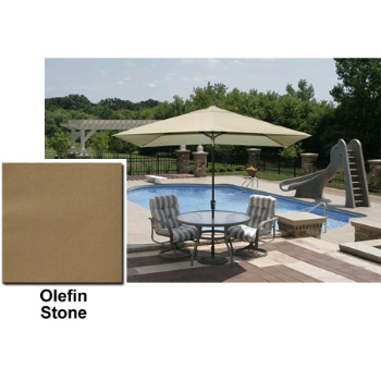Adriatic 6.5' x 10' Rectangle Autotilt Market Umbrella - Stone Olefin