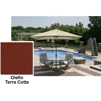 Adriatic 6.5' x 10' Rectangle Autotilt Market Umbrella - Terra Cotta Olefin