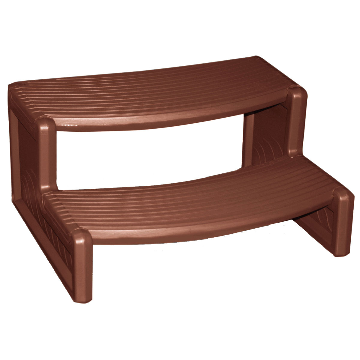 Confer Handi-Step Spa Step - Fits Straight Or Round Spa - Mahogany