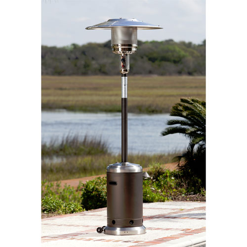 Mocha and Stainless Steel Commercial 46,000 BTU Patio Heater