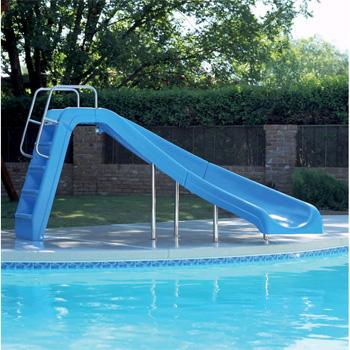 Inter Fab 4 White Water Pool Slide Blue Left Turn