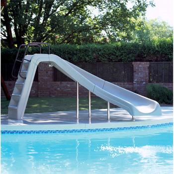 Inter Fab 4 White Water Pool Slide Tan Right Turn