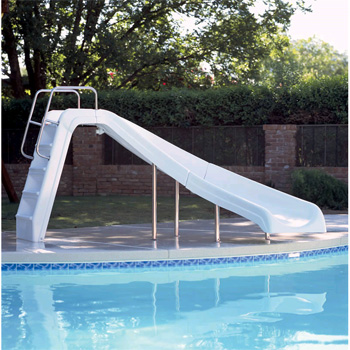 Inter Fab 4 White Water Pool Slide White Right Turn
