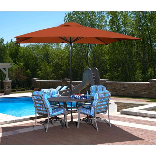 Caspian 8' x 10' Rectangular Market Umbrella - Terracotta