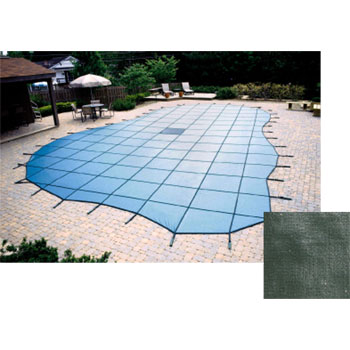12' x 20' Rectangle 20yr Solid Safety Pool Cover w/ Drain - Green