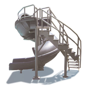 Open Vortex Pool Slide with Staircase - Gray Granite