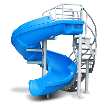 Open Vortex Pool Slide with Staircase - Blue