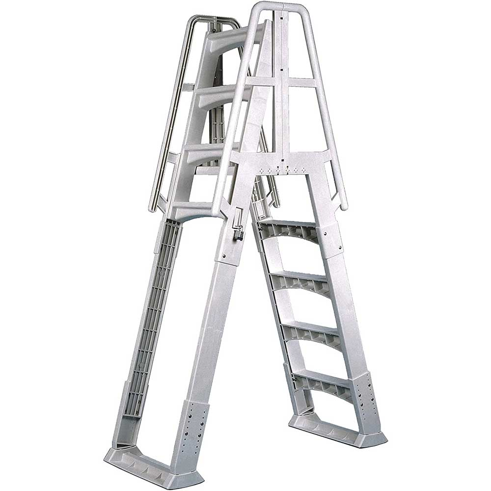 Vinyl Works Slide-Lock A-Frame Above Ground Pool Ladder - White